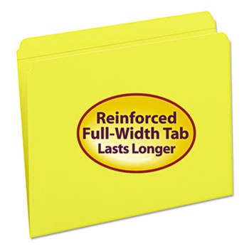 Smead® File Folders, Straight Cut, Reinforced Top Tab, Letter, Yellow, 100/Box