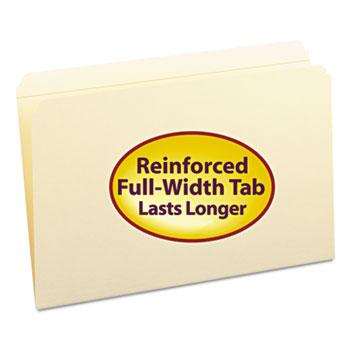 File Folders, Straight Cut, Reinforced Top Tab, Legal, Manila, 100/Box