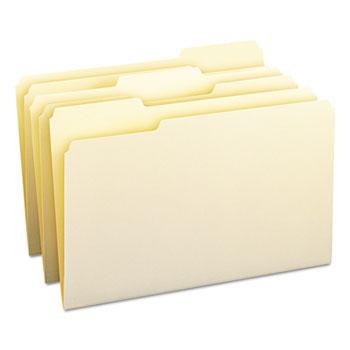 Smead 1/3 Cut Assorted Position File Folders, One-Ply Top Tab, Legal, Manila, 100/Box