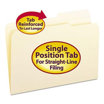 Smead® Guide Height Folder, 2/5 Cut Right, Reinforced Top Tab, Legal, Manila, 100/Box