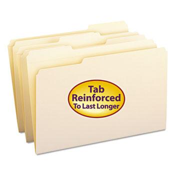 Smead® File Folders, 1/3 Cut Assorted, Reinforced Top Tab, Legal, Manila, 100/Box