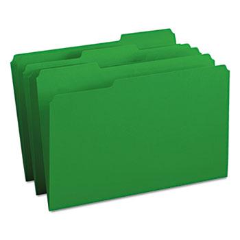 Smead® File Folders, 1/3 Cut Top Tab, Legal, Green, 100/Box