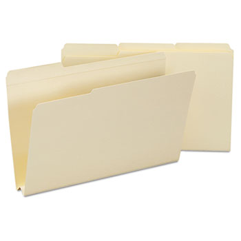 Heavyweight File Folders, 1/3 Tab, 1 1/2 Inch Expansion, Legal, Manila, 50/Box