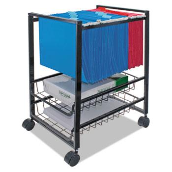 Advantus Mobile File Cart w/Sliding Baskets, 12 7/8w x 15d x 21 1/8h, Black