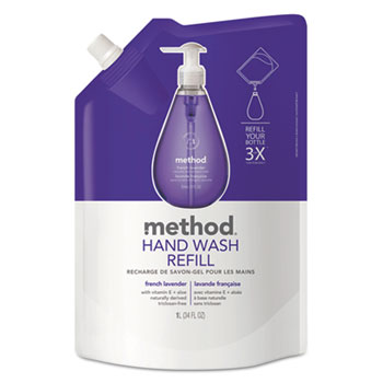 Gel Hand Wash Refill, 34 oz., Plastic Pouch, French Lavender