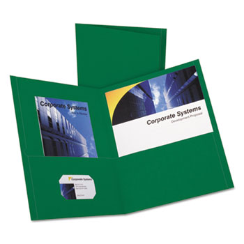 Oxford™ Twin-Pocket Folder, Embossed Leather Grain Paper, Hunter Green, 25/BX