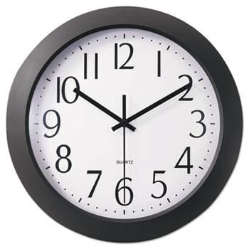 "Universal Whisper Quiet Clock, 12"" Overall Diameter, Black Case, 1 AA (sold separately)"