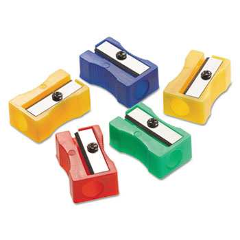 Westcott® Manual Pencil Sharpeners, Red/Blue/Green/Yellow, 4w x 2d x 1h, 24/Pack