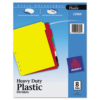 Avery® Heavy-Duty Plastic Dividers, 8-Tab Set, Multicolor