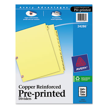Preprinted Dividers, Copper Reinforced, 12-Tab Set, Jan.-Dec.