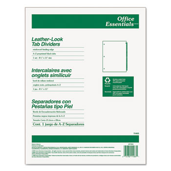 Office Essentials™ Black Leather Preprinted Tab Dividers, A-Z Tab