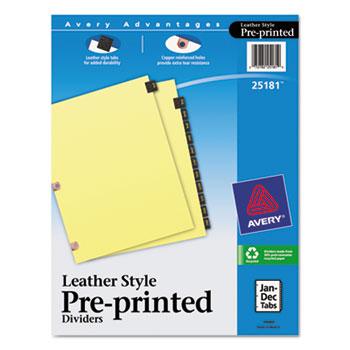 Avery® Black Leather Preprinted Dividers, Premium Reinforced Holes, 12-Tab Set, Jan.-Dec.