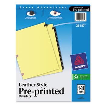 Avery® Black Leather Preprinted Dividers, 31-Tab Set, 1-31