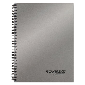 Cambridge® Side-Bound Guided Business Notebook, 7 1/4 x 9 1/2, Silver, 80 Sheets