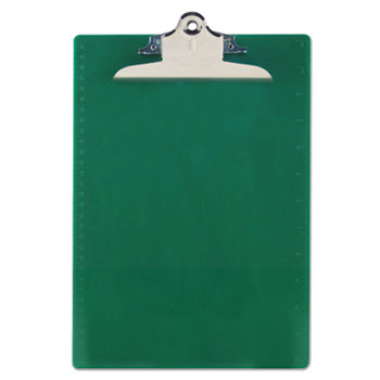 "Recycled Plastic Clipboards, 1"" Capacity, Holds 8 1/2w x 12h, Green"