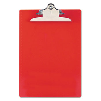 "Saunders Recycled Plastic Clipboards, 1"" Capacity, Holds 8 1/2w x 12h, Red"