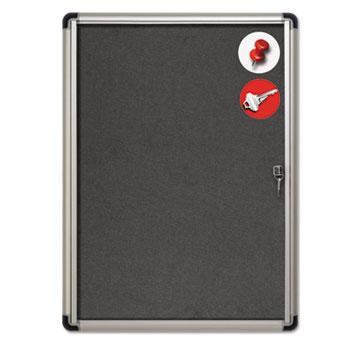 MasterVision® Slim-Line Enclosed Fabric Bulletin Board, 28 x 38, Aluminum Case