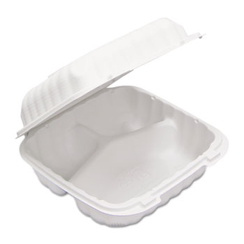 Pactiv EarthChoice® SmartLock® Hinged Lid Containers, White, 22 oz., 200/CS