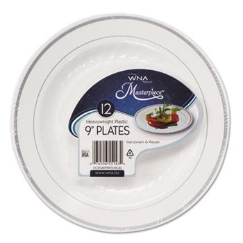 "WNA Masterpiece Plastic Dinnerware, White/Silver, 9"", 10/Pack"