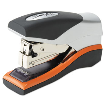 Swingline® Optima 40 Compact Stapler, Half Strip, 40-Sheet Capacity, Black/Silver/Orange