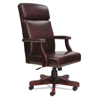 "Alera® Alera Traditional Series High-Back Chair, Supports 275 lb, 18.7"" to 22.63"" Seat, Oxblood Burgundy Seat/Back, Mahogany Base"