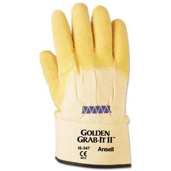 AnsellPro Golden Grab-It II Heavy-Duty Work Gloves, Size 10, Latex/Jersey, Yellow, 12 PR