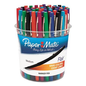 Paper Mate® Flair Felt Tip Marker Pen, Assorted Ink, Medium, 48 Pens/Set