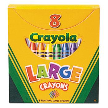 Crayola® Large Crayons, Tuck Box, 8/BX
