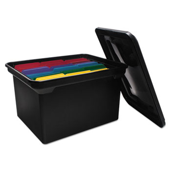 Advantus File Tote Storage Box w/Lid, Legal/Letter, Plastic, Black