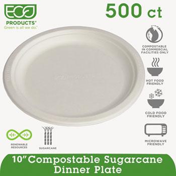 "Eco-Products® Renewable & Compostable Sugarcane Plates - 10"" , 50/PK, 10 PK/CT"