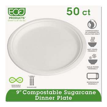 "Renewable & Compostable Sugarcane Plates, 9"", 50/PK"