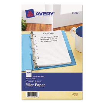 """Mini Binder Filler Paper, College Ruled, 5 1/2"""" x 8 1/2"""", 100/PK"""