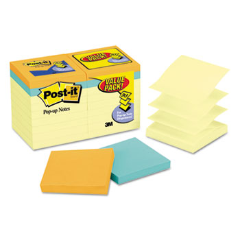 Original Pop-up Notes Value Pack, 3 x 3, Canary/Cape Town, 100-Sheet, 18/Pack