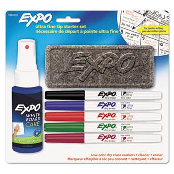 Low-Odor Dry-Erase Marker Starter Set, Ultra Fine, Assorted, 5/Set