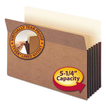 """Smead® 5 1/4"""" Exp File Pocket, Straight Tab, Legal, Manila/Redrope, 10/Bx"""