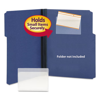 Smead® Self-Adhesive Poly Pockets, Top Load, 5-5/16 x 3-5/8, Clear, 100/Box