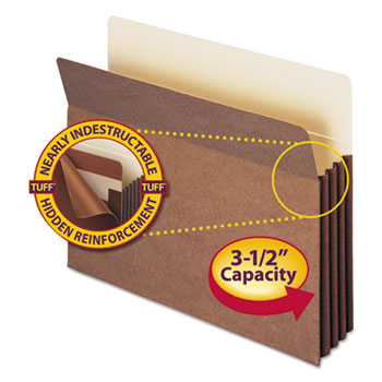 "3 1/2"" Exp Pocket w/Tyvek, Straight, Letter, Manila/Redrope, 10/Box"