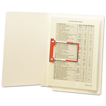 "Smead® U-Clip Bonded File Fasteners, 2"" Capacity, Orange and White, 100/Box"