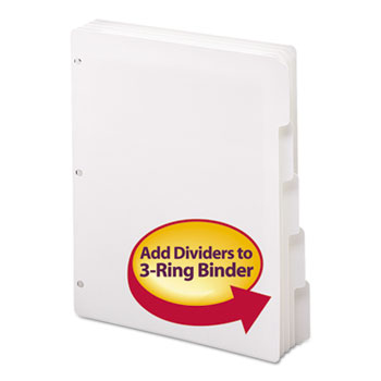 Smead® Three-Ring Binder Index Divider, 5-Tab, White