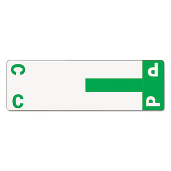 Alpha-Z Color-Coded First Letter Name Labels, C & P, Dark Green, 100/Pack