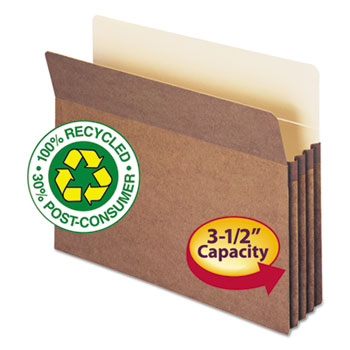 100% Recycled Pocket, 3 1/2 Inch Exp, Letter, Redrope, 25/Box