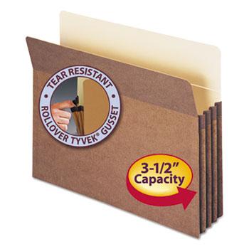 "3 1/2"" Exp File Pocket, Straight Tab, Letter, Manila/Redrope, 50/Bx"