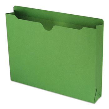 Colored File Jackets w/Reinforced 2-Ply Tab, Letter, 11pt, Green, 50/Box