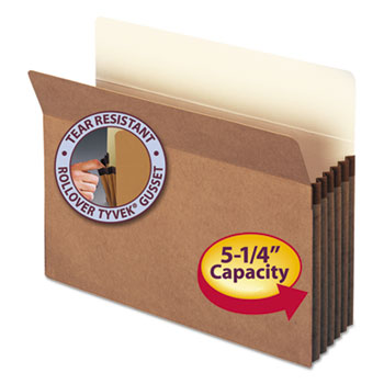 "Smead® 5 1/4"" Exp Pocket, Straight Tab, Letter, Manila/Redrope, 10/Box"