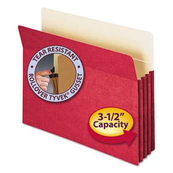 """Smead 3 1/2"""" Exp Colored File Pocket, Straight Tab, Letter, Red"""