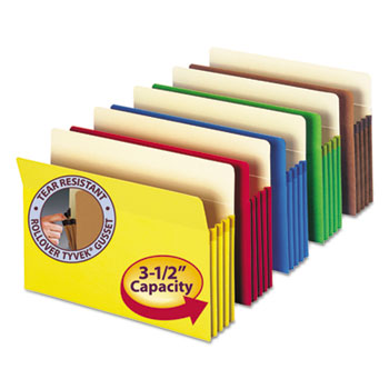 """Smead 3 1/2"""" Exp Colored File Pocket, Straight Tab, Letter, Asst, 5/Pack"""