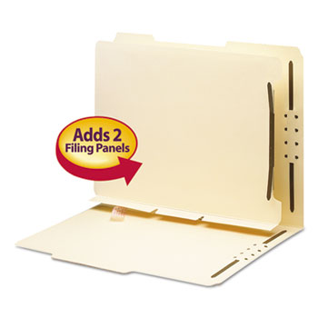 Smead® Manila Self-Adhesive Folder Dividers w/2-Prong Fastener, 2-Sect, Letter, 25/Pack