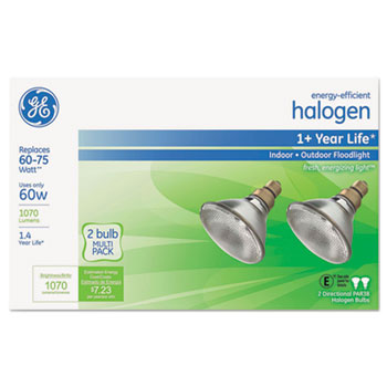 GE Energy-Efficient Halogen 60 Watt PAR38 Floodlight, 1070 lm, Crisp White, 2/PK