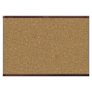 Quartet® Prestige 2 Magnetic Cork Bulletin Board, 36 x 24, Mahogany Frame