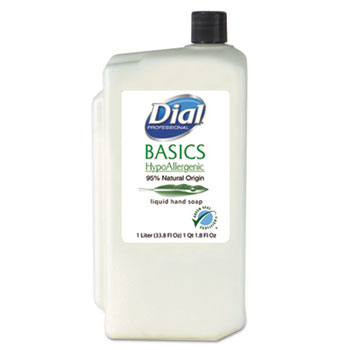 Dial® Hypoallergenic Liquid Soap, Rosemary & Mint, 1000mL Refill, 8/Carton